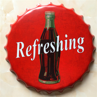 Refreshing Large Beer Cover Tin Sign Logo Plaque Vintage Metal Painting Wall Sticker Iron Sign Bar KTV Store Decorative 40X40 CM