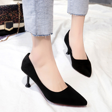 Plus Size 43 Office Lady Shoes Sexy Party High Heels Woman Shoes Pointed Toe Dress Basic Pumps Women Faux Suede Shallow Pumps karinluna new arrivals big size 31 43 round toe platform women shoes woman elegant spike high heels party office lady pumps