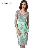 Robe Mere De La Mariee Sheath Knee Length Dress For Wedding Mothers 3/4 Sleeves V neck Appliques Women Party Gowns New