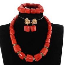 Jeden rząd oryginalny prawdziwy koral naszyjnik z koralików zestaw biżuterii nigeryjczyk Coral zestawy biżuterii dla nowożeńców dla kobiet, najlepszy prezent panny młodej CG021