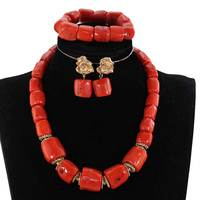 Single Row Original Real Coral Bead Necklace Jewelry Set Nigerian Coral Bridal Jewelry Sets for Women,Best Bride Gift PJW309