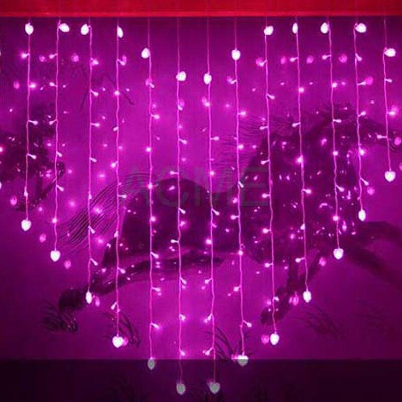 2x1.6m Heart Shape LED String Fairy Lights 34 Hearts Holiday Christmas Lights Outdoor Wedding Decoracao Curtain Lights EU/US/UK ...