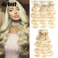 Ali Debut Brazilian 613 Hair Weave Bundles 3 Bundles Deal Body Wave Human Hair Extension Blonde Body Wave Human Hair Bundles