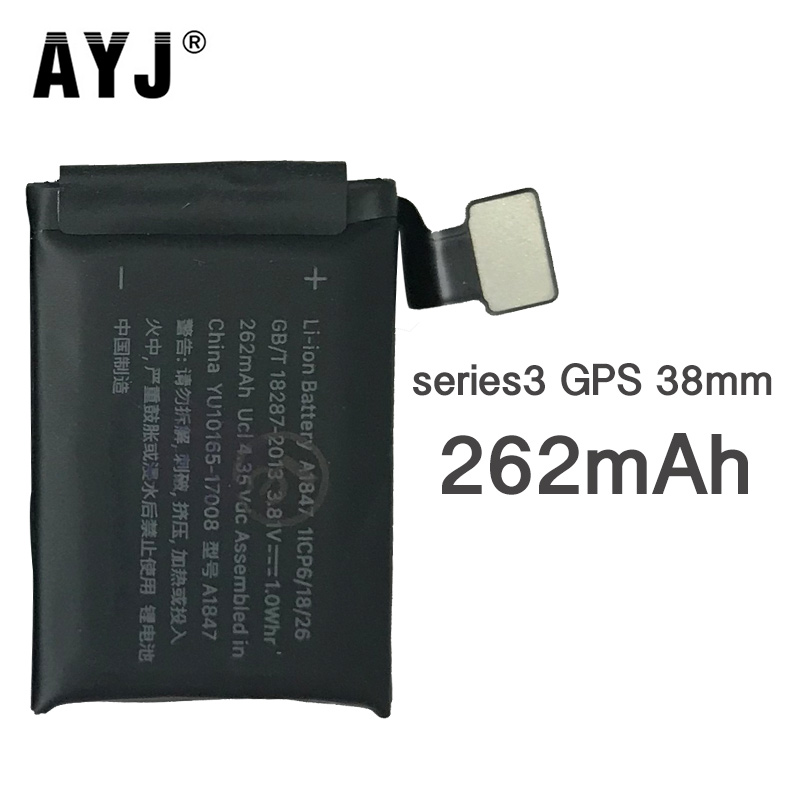 1 Piece Sale AYJ Original A1847 Battery For <font><b>Apple</b></font> <font><b>Watch</b></font> <font><b>Series</b></font> <font><b>3</b></font> <font><b>GPS</b></font> 38mm S3 262mAh Real High Capacity Series3 38mm 100% Tested image