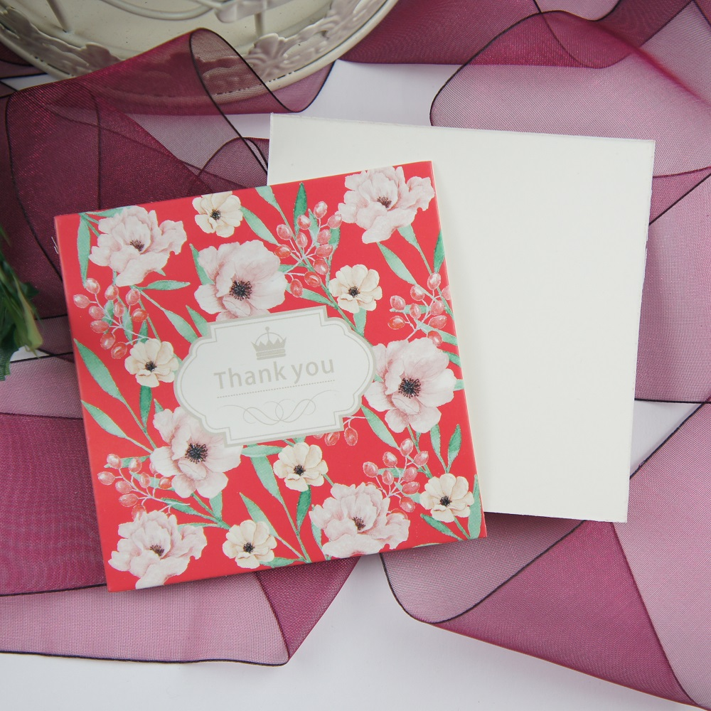 50pcs Mini thank you red purple flower DIY Card message cards ...