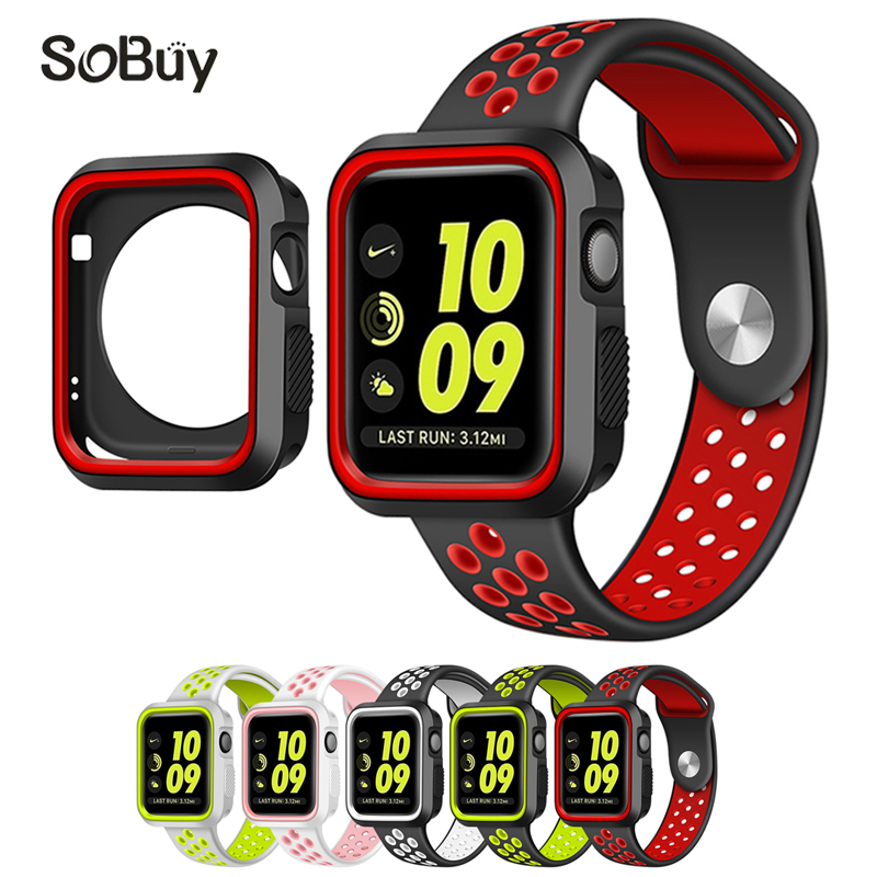 So buy protective case 38mm wristband Silicon Sport Band for Apple Watch i watch Series 3/2/1 S shell 42mm rubber wrist Bracelet
