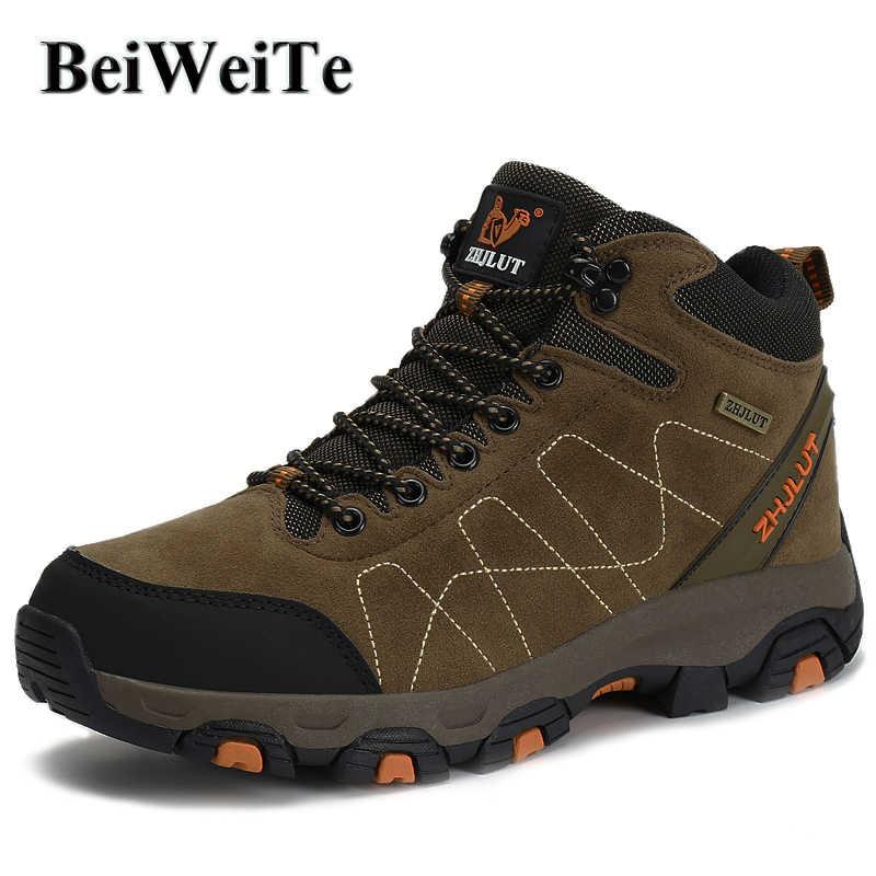 Mens Winter Wandelschoenen Jacht Klimmen Sport Hoge Top Sneakers Camel Mannelijke Trail Trekking Sneeuw Wandelen Outdoor Mountain Schoenen