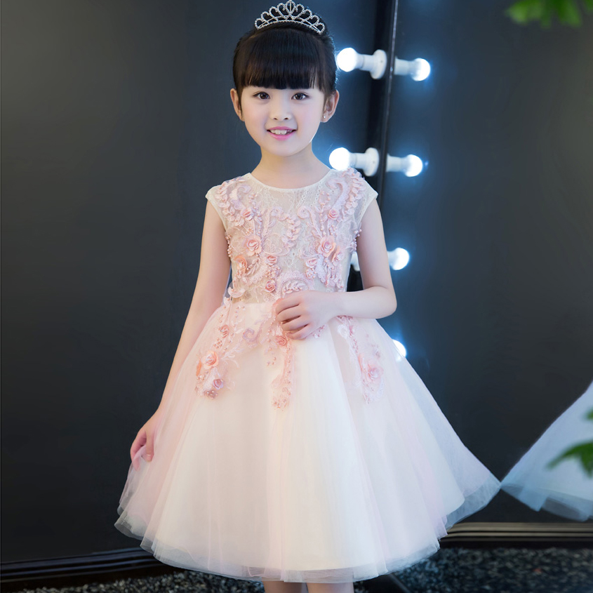 2017 New Luxury Pink Color Embroidery Flowers Princess Lace Costume Dress Children Girls Wedding Birthday Party Pageant Dress girls birthday wedding evening party embroidery flowers lace princess dress children kids model show costume pageant long dress