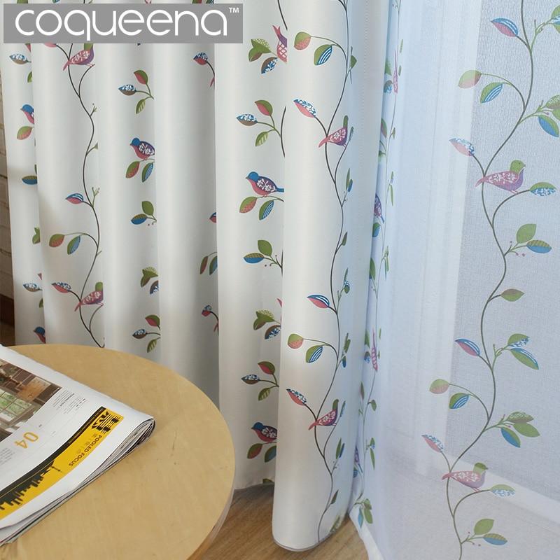 Kuşlar ve Yapraklar Karartma Perdeleri Oturma Odası Yatak Odası Ev - Ev Tekstili - Fotoğraf 1