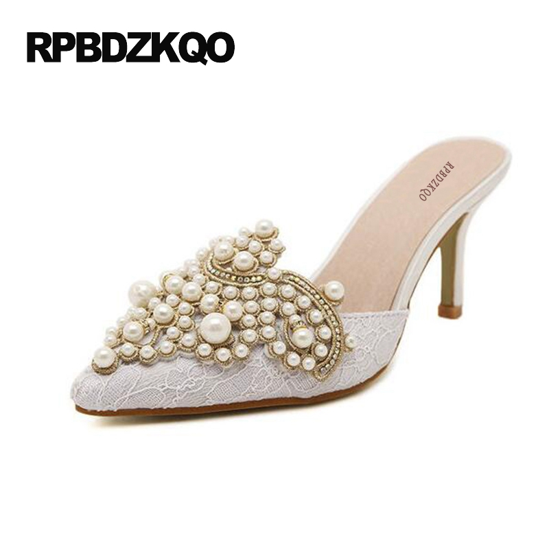 Sandals 2017 Pearl Stiletto Mules Slipper Crystal Shoes Women Lace Pointed  Toe Pumps 3 Inch Cheap White High Heels Rhinestone f888374fdffe