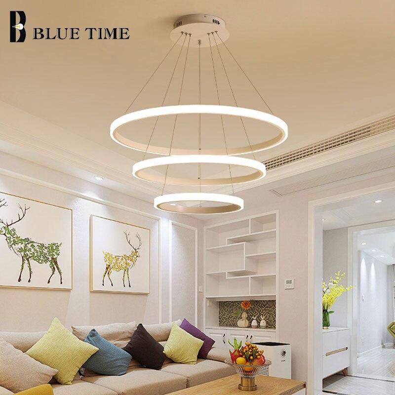 New Design LED Chandelier Lighting For Living Room Dining Room Bedroom White&Black&Golden&Coffee Rings Modern LED Chandeliers