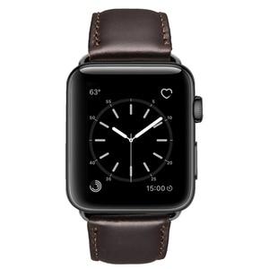 Image 1 - オイルワックス革ブレスレットappleの時計バンド 42 ミリメートル 38 ミリメートル 44 ミリメートル 40 ミリメートルシリーズ 4 3 2/viotoo時計iwatch時計バンド