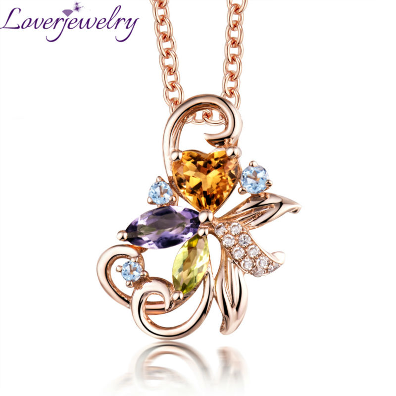 Elegent Citrine Crystal Pendant  Solid 18kt Rose Gold Diamond Colorful Amethyst  Pendant WP089Elegent Citrine Crystal Pendant  Solid 18kt Rose Gold Diamond Colorful Amethyst  Pendant WP089