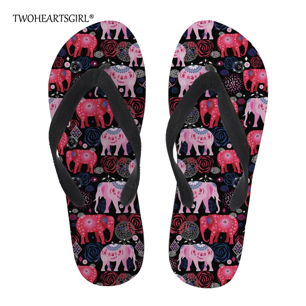 Twoheartsgirl Colorful White Elephant Print Beach Slippers Novelty Female Ladies Summer Beach Flip Flops Personalized Flipflops Shoes