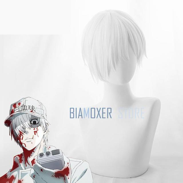 Biamoxer Anime Hataraku Saibou White Blood Cell U-1146 Cosplay Wigs Cells  At Work Short White Synthetic Wig + Wig Cap c0b3b6dcf93