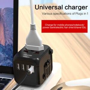 Image 5 - LINGCHEN Adapter podróżny międzynarodowy zasilacz 5A 3 Port USB 1 type c ładowarka podróżna zasilanie prądem zmiennym przejściówka Adapter do ue/UK/AU/US