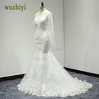 Wuzhiyi Robe De Mariage Applique Long Mermaid Wedding Dress 2017 Cap Sleeve V Neck Lace Bridal