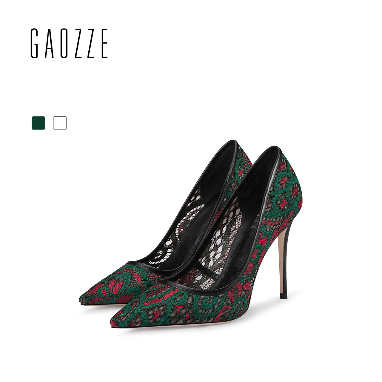 GAOZZE Fashion Green-Red Lace Mesh Sexy High Heels 10.5cm Women Pumps Shoes Pointed Toe Social Party Women Shoes 2018 Spring New 2016 spring and summer free shipping red new fashion design shoes african women print rt 3
