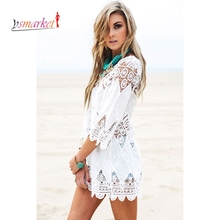 New Summer Swimsuit Lace Hollow Crochet Beach Bikini Cover Up 3/4 Sleeve Women Tops Swimwear Beach Dress White Beach Tunic Shirt