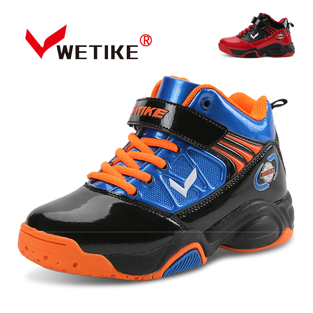 3d07ae85fbae35 WETIKE 2018 Kid s Basketball Shoes High Ankle Cushioning Sport Shoes  Outdoor Basketball Boots Sneakers For Boys Girls Red Black