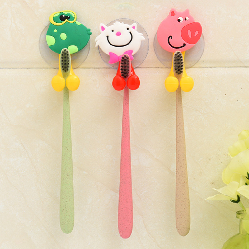 Animal Cartoon Bathroom Toothbrush Holder Hook Vacuum Suction Cups Box On Wall Door Refrigerator Keyr Tooth Brush Holder image