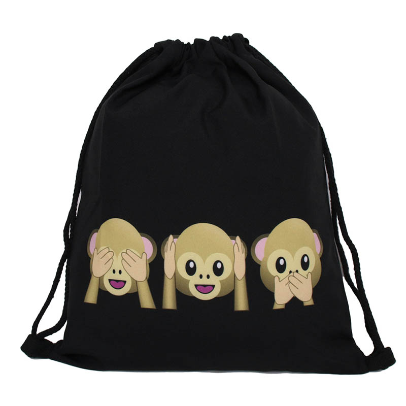Drawstring Bags Black Color With Cartoon Prints Wedding Jewelry Gift Bags Men Women Outdoor Sports Bag With Large Capacity