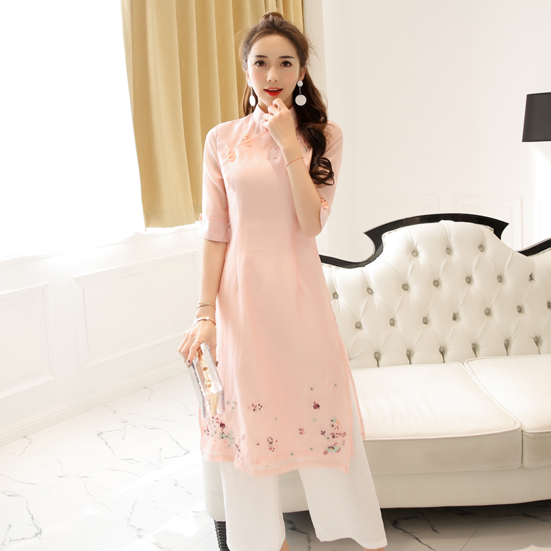 2017 summer traditional clothing vietnam style long dress ao dai