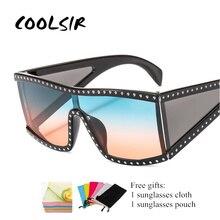 COOLSIR New Brand Designer Womens sunglasses luxury Crystal Steampunk sun glasses Men One Piece Mirror Gafas de sol UV400