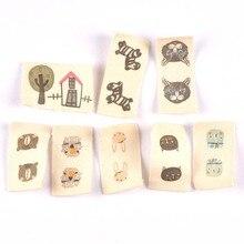 Смешанные 50 шт. с животным принтом бежевые хлопковые тканые этикетки для ухода за одеждой этикетки мультфильм обувь сумки моющиеся бирки одежды CP2244