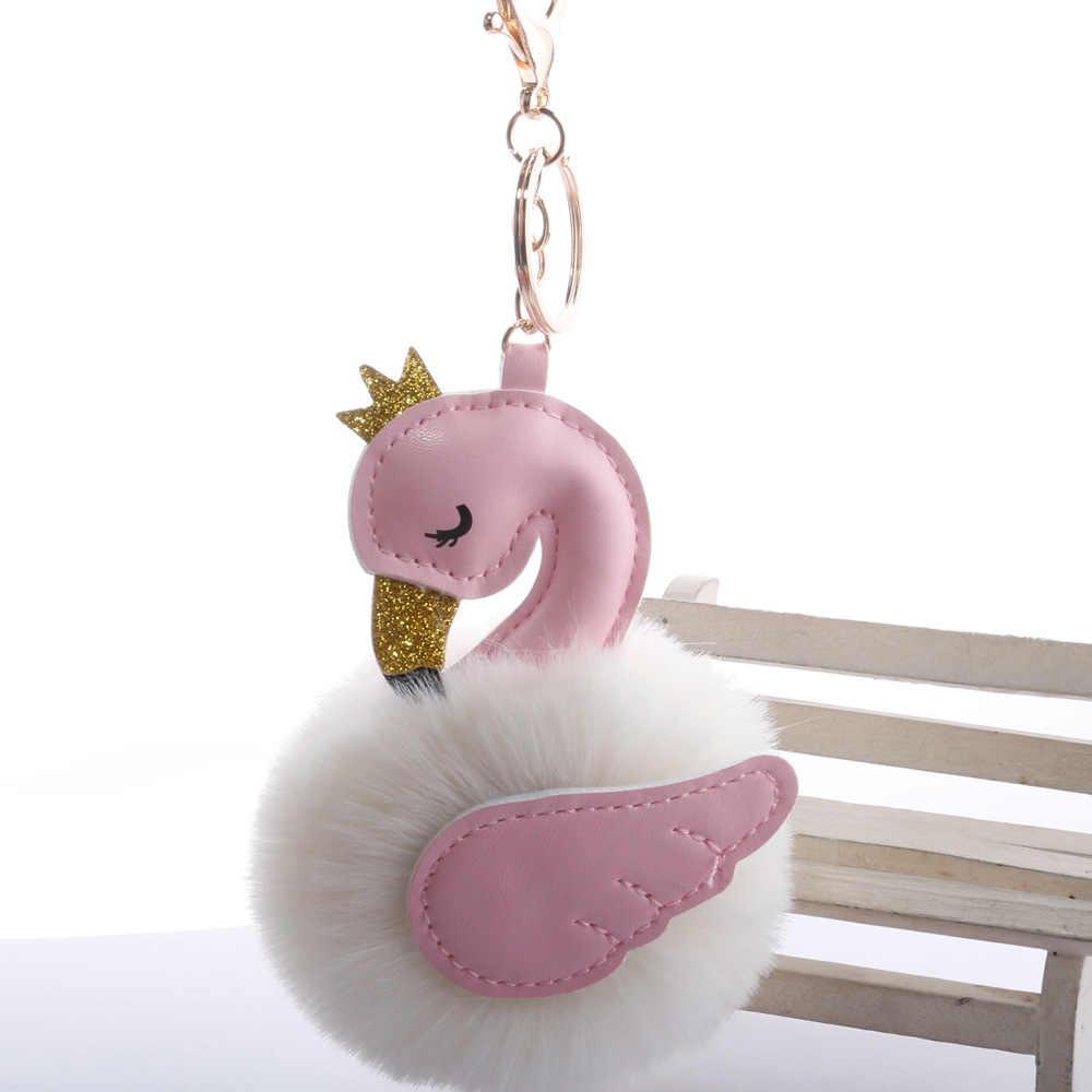سوان شكل الشعر الكرة مفتاح قلادة عصابة الجناح الجديد تاج فلامنغو حقيبة الإكسسوارات أفخم قلادة