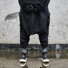 Мужские темно-черные брюки с заниженным шаговым швом, мужские японские уличные штаны в стиле хип-хоп, панк, готика, шаровары, спортивные штаны