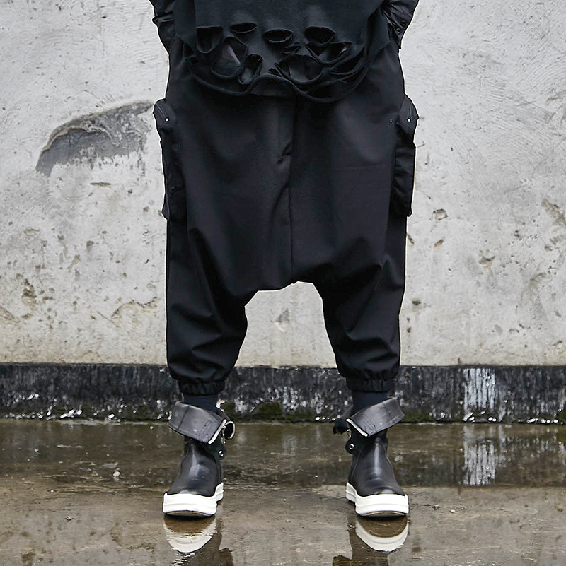 Men Oversize Dark Black Low Crotch Cross Pants Male Japan Streetwear Hip Hop Punk Gothic Harem Trousers Joggers Sweatpants