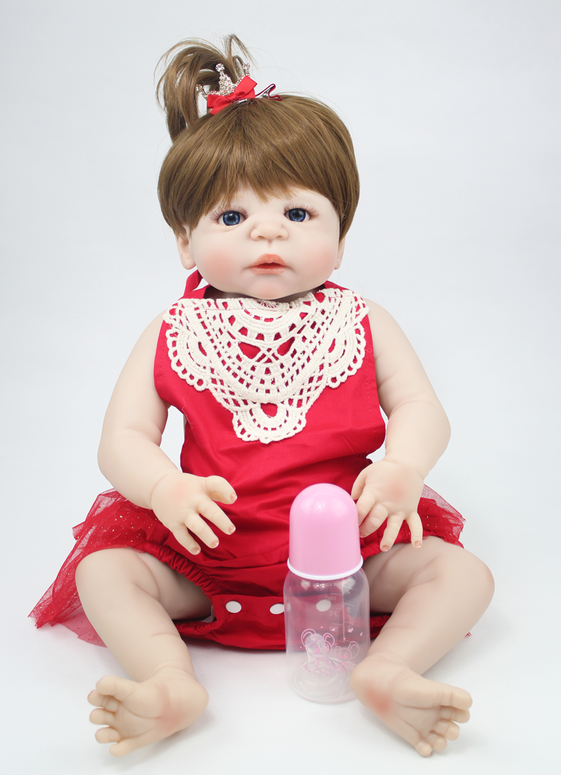 55cm Full Silicone Body Baby-Reborn Doll Toys 22inch Newborn Princess Toddler Babies Doll Girls Bonecas Brinquedos Kid Bathe Toy 55cm full silicone reborn baby doll toy real touch newborn princess toddler babies alive bebe doll with pacifier girl bonecas