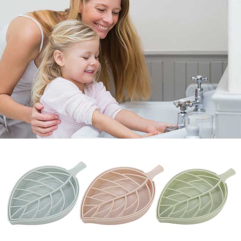 CARRYWON Creative Drain Soap Box Leaf Modeling Soap Holder Bathroom Accessories Soap Dish Storage Basket Box Stand