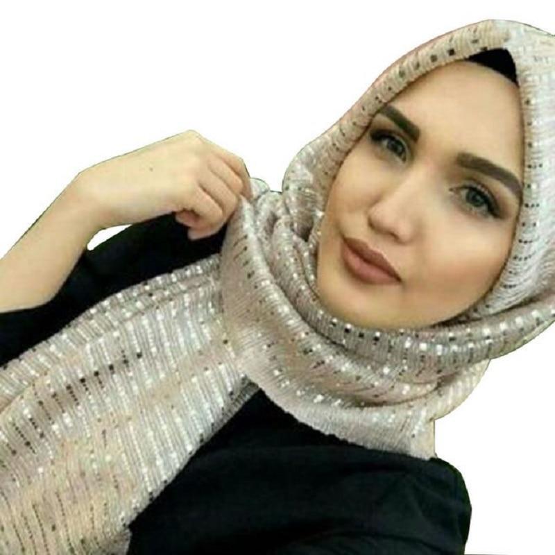 d73cfac70729 Fashion Muslim Shimmer Visose Hijabs Scarf Female Gold Sliver Glitters Scarf  Shawl Pashmina Sequins Long Head Scarf 70