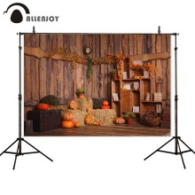 Allenjoy backdrop for photography studio Halloween autumn child pumpkin hay bookshelf wood photo background photobooth photocall