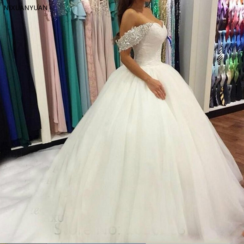 Wedding Dresses Off Shoulder Long Fashion Wedding Gown Beaded Wedding Dress Back Buttons Robe De Mariee Puffy Bridal Gowns
