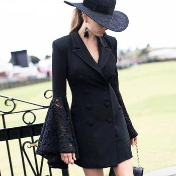 Fashion Ladies Blazers Black Lace Flare Sleeve V Neck Double Breadsted Slim Suit Jacket Woman Summer Blazer Office Lady  Okd158