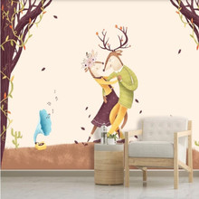 Nordic style hand drawn abstract illustration elk TV background wall nordic style hand drawn diy animals head hipsters pvc wall sticker