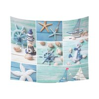 Sea Theme Home Decor Tapestries Wall Art, Starfish Seashells Tapestry Wall Hanging Art Sets 60 X 51 Inches