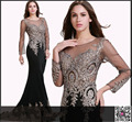 Sheer Long Sleeve Formal Evening Dresses 2016 100% Real  Gown Crew Mermaid Black Prom Dresses Appliques Celebrity Party Dress