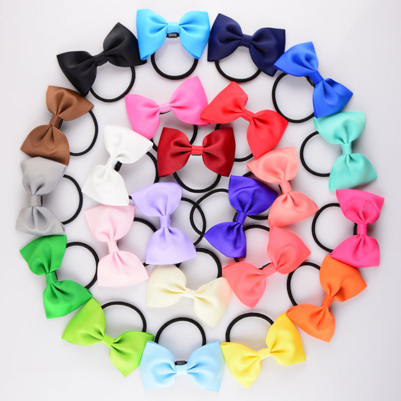 6Pcs 3 Wide Ribbon Bows with elastic hair bands bebe hair accessories Tail Ring Butterfly bows girls hair rope hairband 6pcs 3 grosgrain ribbon hair bow with colorful elastic hair bands little girl hairbow head ring accessories kids hair rope