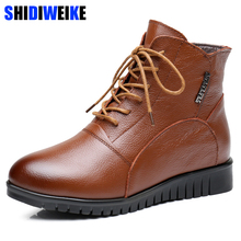 2018 GENUINE LEATHER MARTIN BOOTS WOMEN WINTER BOOTS WATERPROOF ANTISIKD LACE-UP WOMEN AUTUMN Winter BOOTS FASHION BOOTS n251