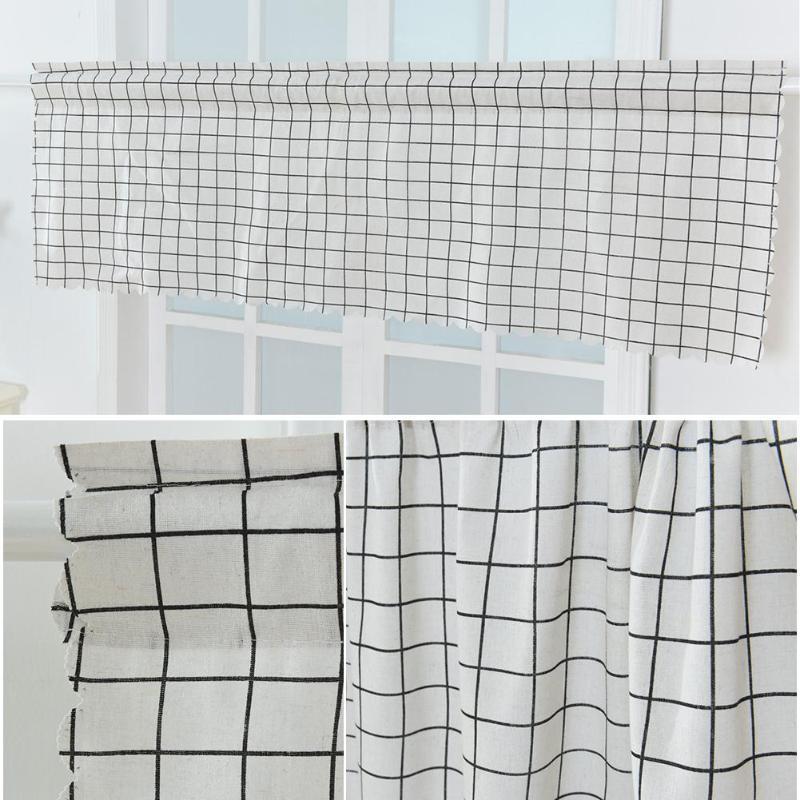 Kitchen Cafe Curtains Modern: Modern Plaid Short Windows Art Curtain For Kitchen Cafe
