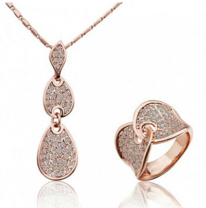 OMH wholesale fashion 18 KT gold rose water Drops Women girls gift Necklace + ring Jewelry sets TZ107