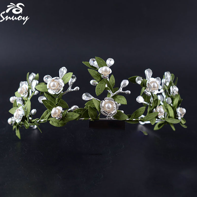 2018 Romantic Wedding Tiaras & Crown Green Leaf & Flower Bride Hairbands Fairy Vine Tiara Crowns with Pearl Bud Hairhoops HG317