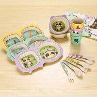 5pcs kids bamboo fiber dinnerware set cartoon plate set for baby