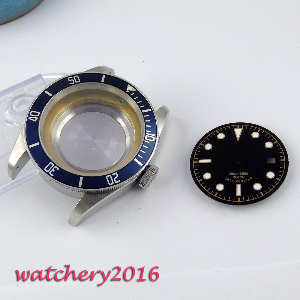 41mm Sapphire Glass High quality hardened Blue Bezel Watch Case +Dial fit ETA 2824 2836 Movement цена и фото