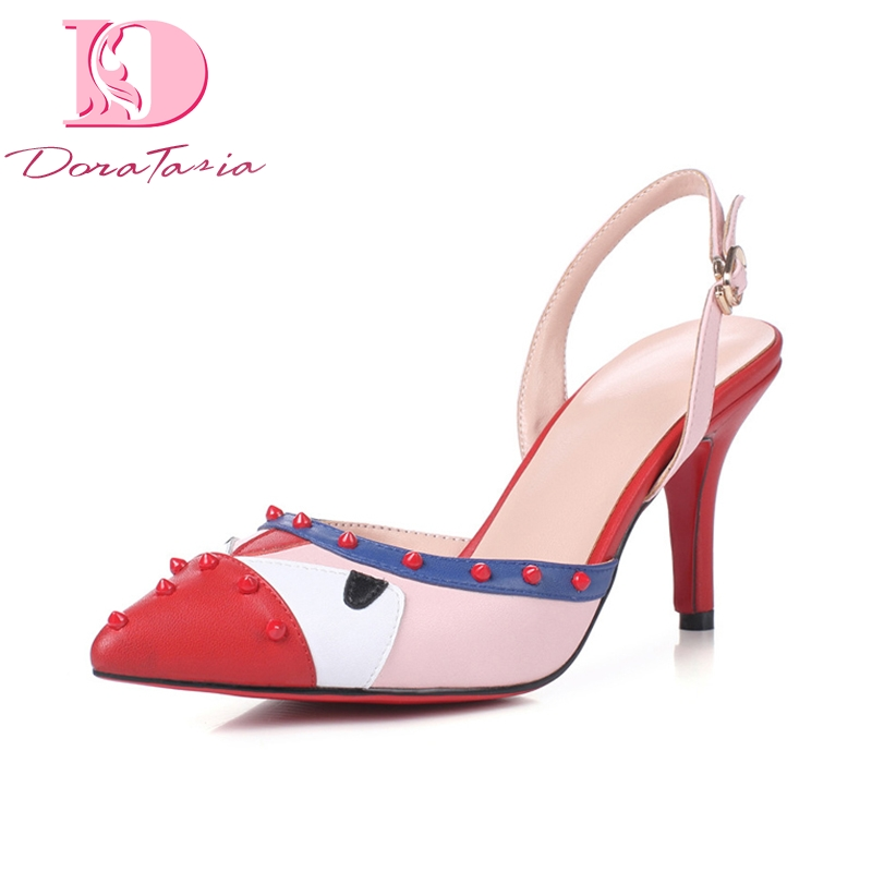 DoraTasia New women s Genuine Leather Metal Decoration Spike High Heels Shoes Woman Casual Summer Sandals