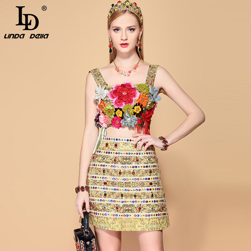 LD LINDA DELLA Summer Fashion Skirts 2 Two Pieces Set Multicolor Floral Appliques Tanks and Women
